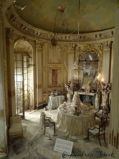 Andrea Thieck Miniatures (jt-Miss Havisham's Wedding Breakfast by Mulvany & Rogers - a new scene for the 2015 Kensington Dolls House Fair. Stunning!)