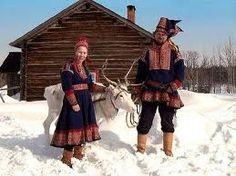 laplanders in traditional headwear