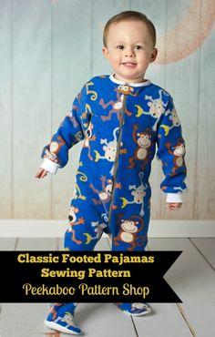 Classic Footed Pajamas PDF Sewing Pattern - Peekaboo Pattern Shop