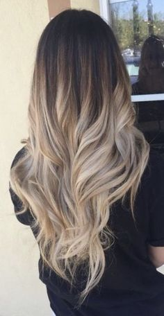 Ombre Hair Color Ideas For Blonde Brown Black Balayage Hair, Medium Long Hair, Long Curly Hair, Curly Hair Styles, Baliage Hair, Baylage, Long Layered Haircuts, Hair Color Balayage, Black Balayage, Stylish Hair