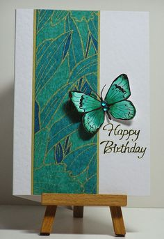 handmade birthday card from Cathys Card Spot: Japanese rice paper & butterfly . beautiful teals with black and gold lines . Handmade Birthday Cards, Happy Birthday Cards, Greeting Cards Handmade, Butterfly Cards Handmade, Butterfly Birthday Cards, Asian Cards, Karten Diy, Paper Butterflies, Paper Butterfly Crafts