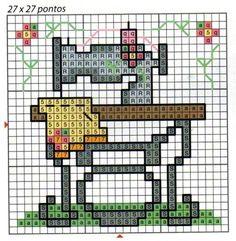 Punto de cruz - Máquina de coser y Tijeras e hilo.