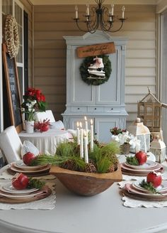 35 Cool Ideas To Use Dough Bowls In Home Décor : 35 Cool Ideas To Use Dough Bowls In Home Décor With Round Wooden Outdoor Dining Table And Chair And Candles Ornament And Dining Set