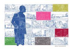 """Illustration de Rébéna pour les pages de garde de l'ouvrage """"Le Corbusier, architecte parmi les hommes"""". Une bande dessinée documentaire et pédagogique éditée en partenariat avec la Cité de l'architecture et du patrimoine et la Fondation Le Corbusier. L'album est enrichi d'un dossier illustré de nombreux documents photographiques. #LeCorbusier #architecture #BD #design #urbanisme http://www.dupuis.com/le-corbusier/bd/le-corbusier-le-corbusier-architecte-parmi-les-hommes/23497"""