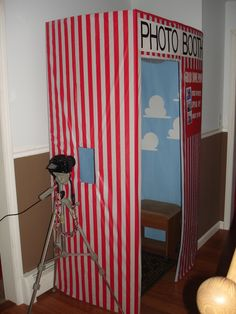DIY Photo Booth! Decorate backdrop to match your theme. Cute idea and a lot cheaper than renting one! Made from a refrigerator box!