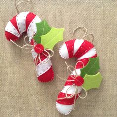 Candy Cane Ornaments / Christmas Tree Ornaments / Peppermint Candy Cane Felt Ornaments / Xmas Peppermint Candy Cane Xmas Decor / set of 2 by CraftsbyBeba on Etsy