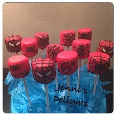 Spiderman marshmallow pops. Facebook: Jenni's Delights Instagram: jennisdelights