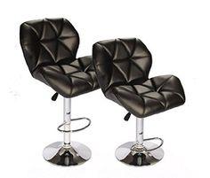 SET of (2) Black Bar Stools Leather Modern Hydraulic Swivel Dinning Chair BarstoolsB01
