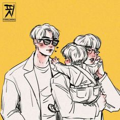 Vhope Fanart, Got7 Fanart, Kpop Couples, Cute Gay Couples, Fanfic Namjin, Family Drawing, Chinese Cartoon, Boy Illustration, Tumblr Art