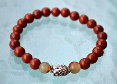 Red Jasper Jade & Budha Bead Handmade Namaste Mala 8 mm Beads Calming Bracelet -For Insomnia Bad Dreams Protection Empowerment and Anxiety