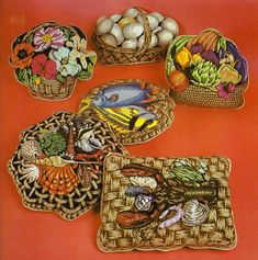 Baskets in needlepoint pillows.