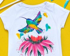 Hand painted Marsh Floral T-shirt with humming bird: Tropical Indian Designers, Textiles, Acrylic Colors, Tropical Flowers, Custom Paint, Hummingbird, Wearable Art, Are You The One, Floral