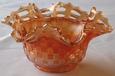 Fenton Marigold Carnival Glass Bowl Blackberry Vintage Basket Weave