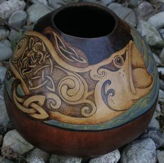 wood burning gourd art - Google Search