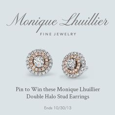 Pin to WIN! To celebrate the NEW Monique Lhuillier Fine Jewelry Collection, exclusively at Blue Nile, we're giving away the Monique Lhuillier Double Halo Stud Earring in White and Rose Gold to one lucky winner. Love these earrings. Monique Lhuillier, Blue Nile Jewelry, The Bling Ring, Before Wedding, Diamond Are A Girls Best Friend, Jewelry Collection, Fine Jewelry, Stud Earrings, My Style