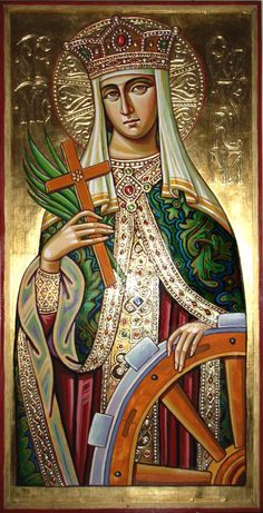 Byzantine Icon of Saint Catherine of Alexandria (Her feast day is Nov) note branch and flower in hand Religious Images, Religious Icons, Religious Art, Byzantine Icons, Byzantine Art, St Catherine Of Alexandria, Saint Katherine, Russian Icons, Art Icon