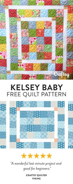 An Easy baby quilt pattern to showcase those prints you just LOVE. Pattern assumes a basic knowledge of quilt cutting and piecing. Free Quilt Pattern.