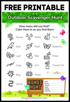 Outdoor Scavenger Hunt Free Printable - TGIF - This Grandma is Fun Free Baby Shower Printables, Free Printables, Outdoor Scavenger Hunts, Find Color, Water Flowers, Outdoor Fun, Summer Fun, Activities For Kids, Tgif