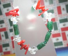 Green White and Red Gemstone Bracelet for Cinco De by joolrylane, $25.00