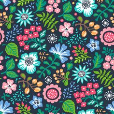 Bohemian Botanical Flowers Floral on Navy fabric by caja_design on Spoonflower - custom fabric