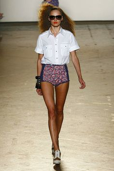 #2 Marc Jacobs SS 2011 model is wearing hot pants reminiscent of the early 70's. The length is very similar the only major differences is that these hot pants are high waisted more so than the earlier styles.