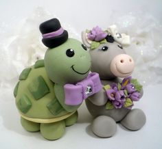 Turtle and donkey wedding cake topper  Custom by PerlillaPets