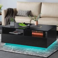 Coffee Table High Gloss, Modern Glass Coffee Table, Drum Coffee Table, Coffee Table With Drawers, Black Coffee Tables, Coffee Table Rectangle, Coffee Table Design, Wood Furniture Living Room, Desk In Living Room