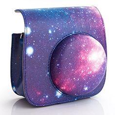 WOODMIN Galaxie Ciel Etoilé Cuir PU Protecteur Housse Etui avec Bandoulière Dragonne pour Fujifilm Instax Mini 8 / 8+ Appareil Photo