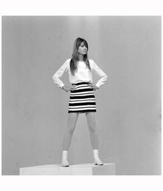 "Francoise Hardy in mini skirt on the set ""Francoise Hardy blues"" of Jean Christophe Averty"