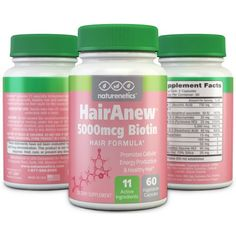 Biotin Hair Growth Vitamins - 11 Powerful Ingredients Including 5000mcg Biotin - 3rd Party Tested & Certified - Addresses Potential Vitamin Deficiencies That Could Cause Hair Loss* - Promotes Cell Growth* - 60 Vegetarian Capsules for 1 Full Months Supply - HairAnew By Naturenetics ---- Price: $29.71