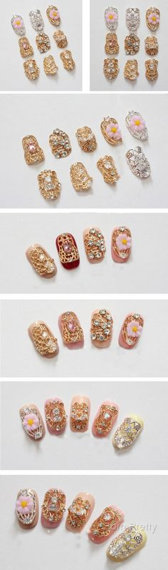 $2.39 2pcs Luxury Style Nail Crystal Embossed Metal 3D Nail Decorations - BornPrettyStore.com