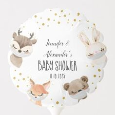 Woodland Forest Baby Shower Balloon Baby Shower Ballons, Holiday Cards, Christmas Cards, Forest Baby Showers, Baby Shower Table Decorations, Custom Balloons, Woodland Forest, Christmas Card Holders, Keep It Cleaner