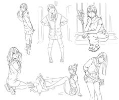 illust by のらくら Body Sketches, Character Sketches, Drawing Sketches, Character Design, Drawings, Figure Sketching, Figure Drawing Reference, Anatomy Reference, Sketch Poses