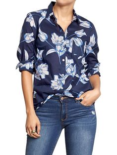 Women's Floral Button-Front Shirts