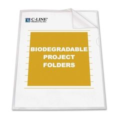 "c-line products, inc. biodegradable project folder,for 11""x8-1/2"" storage,25/bx,cl"
