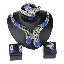 Wedding Party Accessories African Beads Jewelry Sets Sapphire Rhinestone Silver Plated Bridal Necklace Bangle Earrings Rings Set