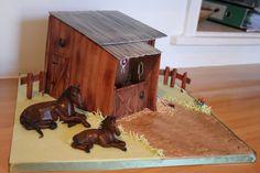 Horse and Stable Cake Cowboy Birthday Cakes, Stud Farm, Horse Cake, Unicorn Horse, Pony Party, Novelty Cakes, Fondant, Amber, Spirit