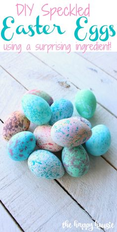 DIY Speckled Easter Eggs using a surprising ingredient tutorial at the happy housie