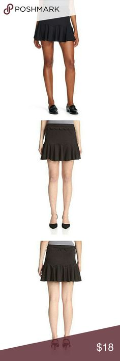 The Vanity Room Women's Crepe Godet Skirt Take your wardrobe beyond basics with the Crepe Godet Skirt with Scallop Trim in Black from Vanity Room. A basic black mini-skirt takes a creative turn with scalloped seams with godets that create a flirty bottom flare. The black skirt is finished with an easy pull-on waist accented in scalloped trim.   Product Specifications: Sizing: Women  Rise: Mid Rise  Pattern: solid, no pattern applied  Material: 95 %  Waist Front Style: Double Pleated  Closure…