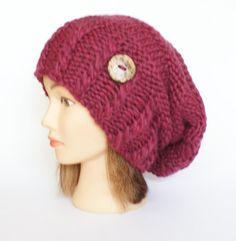 Slouchy beanie hat dark rose slouch hat beanies by Johannahats, $41.00