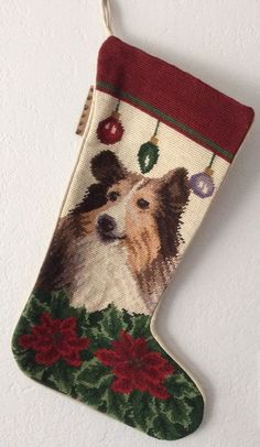 Claws Collection NWT Collie Needlepoint Christmas Stocking