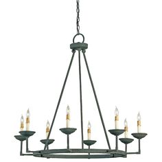Eight Light Ormewood Chandelier by Currey and Company.