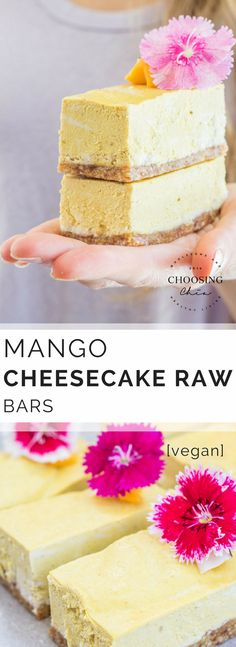 Vegan Mango Cheesecake Bars make a great raw dessert, snack or treat that is healthy and full of tropical fruitiness. #vegan #rawdessert #choosingchia #glutenfree #cheesecake