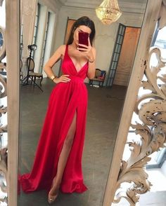Simple Long Red Prom Dress, Sexy Long Evening Party Dress With Split Slit Short Beach Dresses, V Neck Prom Dresses, Black Prom Dresses, Formal Dresses For Women, Formal Evening Dresses, Sexy Dresses, Bridesmaid Dresses, Dress Formal, Dress Long