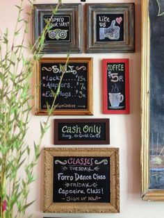 Old frames get a new breath of life with a fresh coat of blackboard paint! Recycled frames DIY