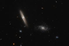 LO950313-192 is the large, edge-on spiral galaxy left of centre in this image. It lies about one billion light-years away in the constellation of Eridanus. In 2003, the galaxy was discovered to possess giant jets of superheated gas emitting in the radio part of the spectrum. These jets have long been associated with the cores of giant elliptical galaxies, but rare in spirals. Image credit: ESA/Hubble & NASA. Acknowledgement: Judy Schmidt.