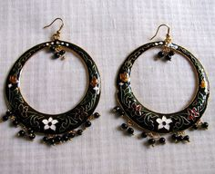 Minakari Enamel  floral Light weight earrings by Chitrasjewelart, $15.00