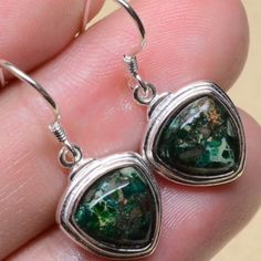 SS Green Copper Turquoise Gemstone Earrings Beautiful green copper turquoise set in Sterling silver. New! Jewelry Earrings