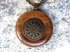 Wooden Necklace Pendant Teak Wood and Steampunk Brass Button