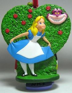 Alice & Queen of Hearts & Cheshire Cat NICE ornament